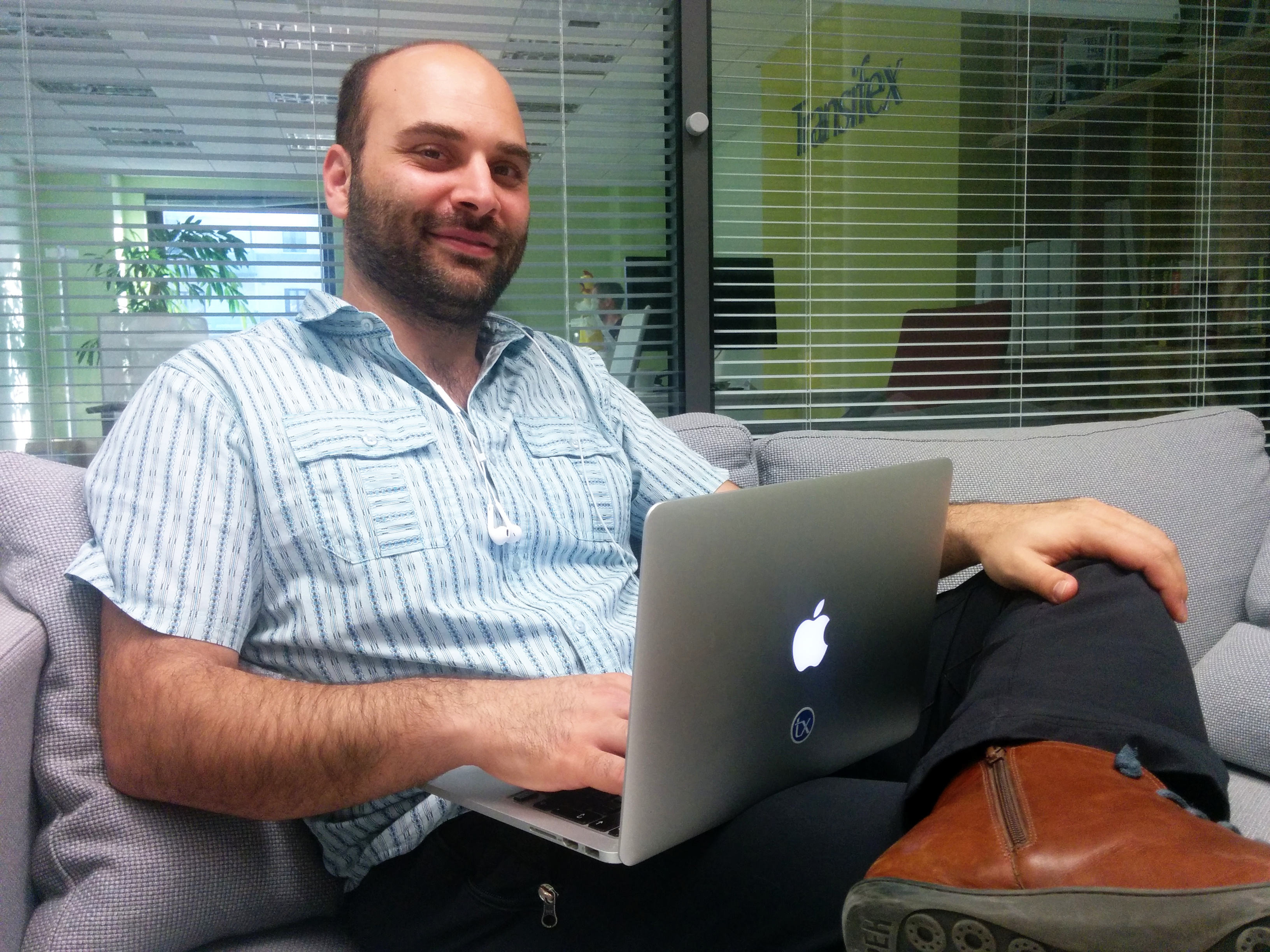 Dimitris Glezos in the Transifex, Athens Office