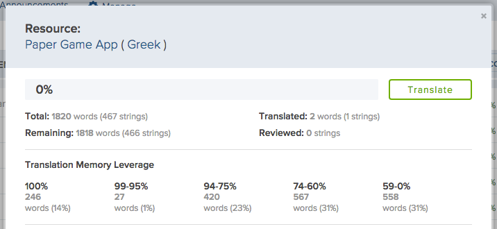 Translation Memory Leverage