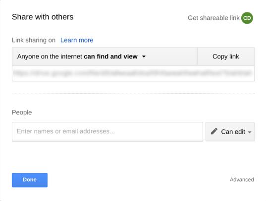 Google Drive share popup