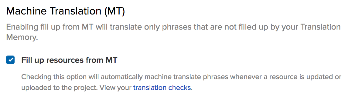 Enable automatic Machine Translation in Transifex