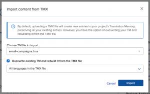 Import TMX file