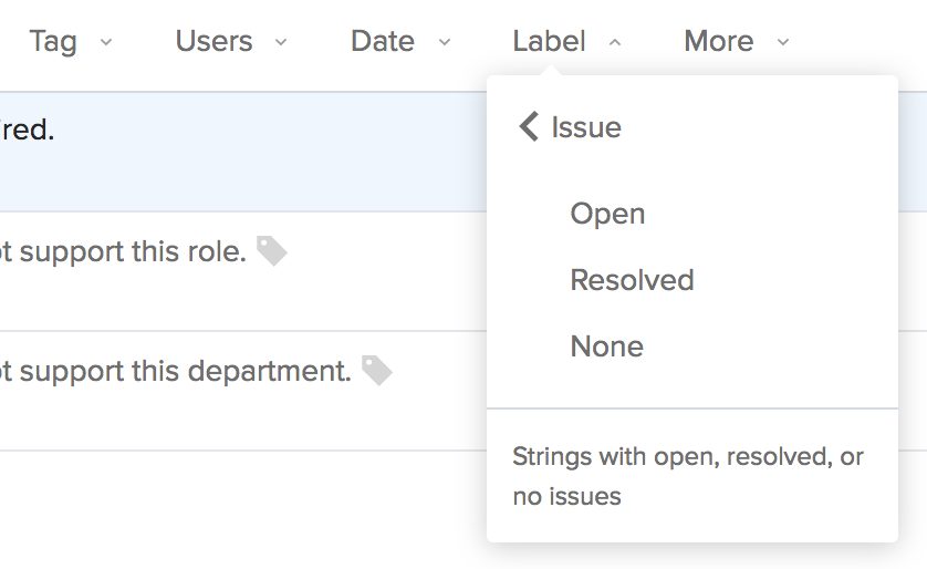Transifex Editor - translation Issue filter