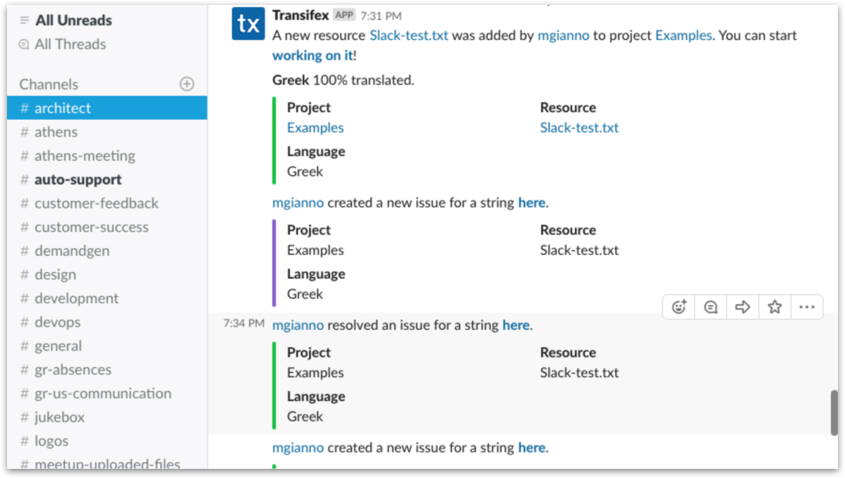 Transifex Slack Integration