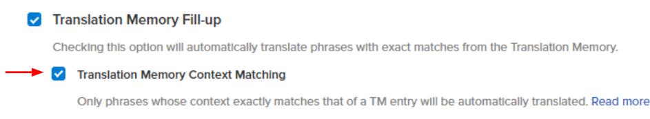 Translation memory context matching