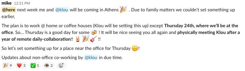 Slack announcement about visiting Athens